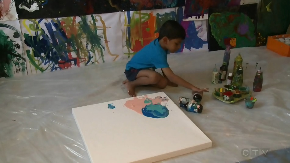 Advait Kolarkar sold one of his colourful abstract paintings for more than $500. (CTV Atlantic)