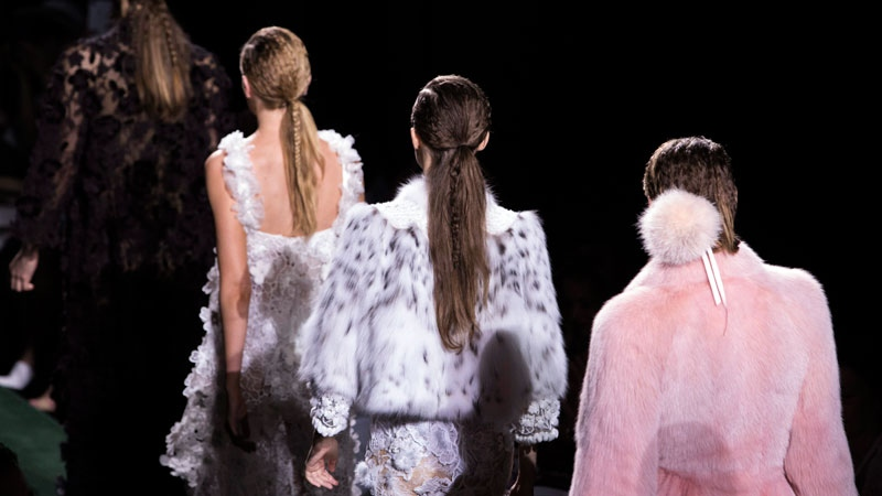 Models wear creations for Fendi's Haute Couture Fall/Winter 2017/2018 fashion collection presented in Paris, France, Wednesday, July 5, 2017. (AP /Kamil Zihnioglu)