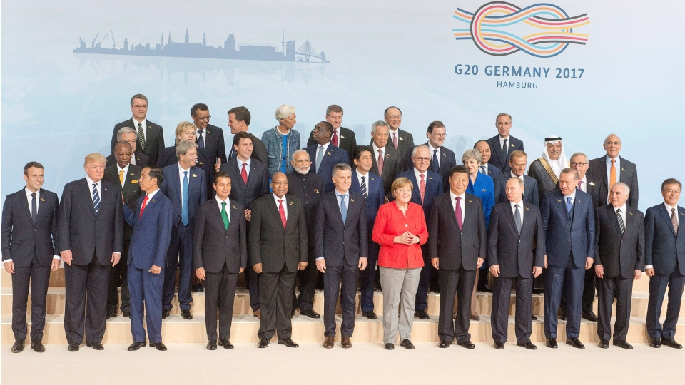 Leaders of the G20 nations pose for the traditional family photo at the G20 summit Friday, July 7, 2017 in Hamburg, Germany.THE CANADIAN PRESS/Ryan Remiorz