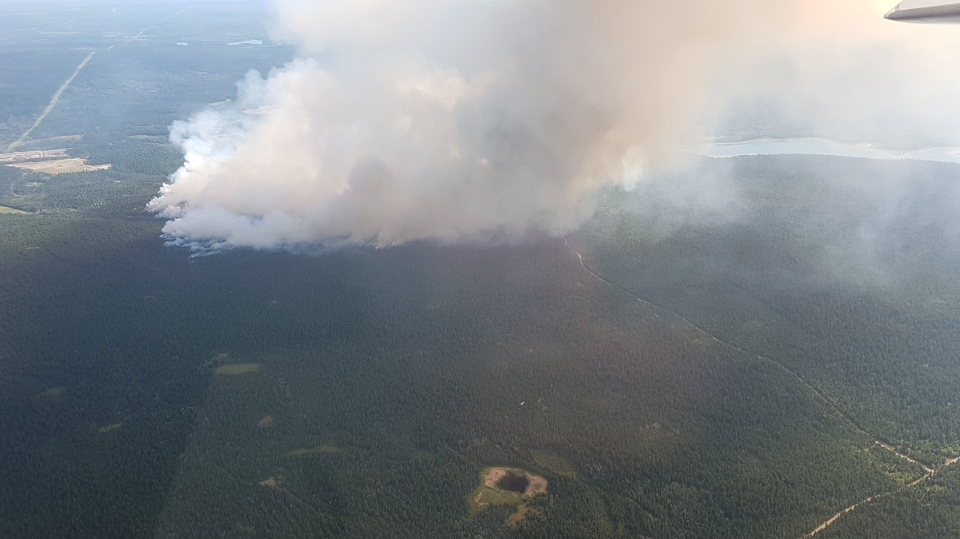 BC Wildfire Service posted this photo of a fire near 100 Mile House, B.C. on Friday July 7, 2017.