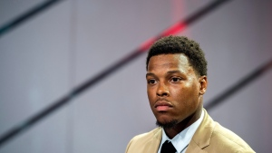 Raptors point guard Kyle Lowry looks on during a news conference in Toronto on Friday, July 7, 2017. (THE CANADIAN PRESS/Frank Gunn)