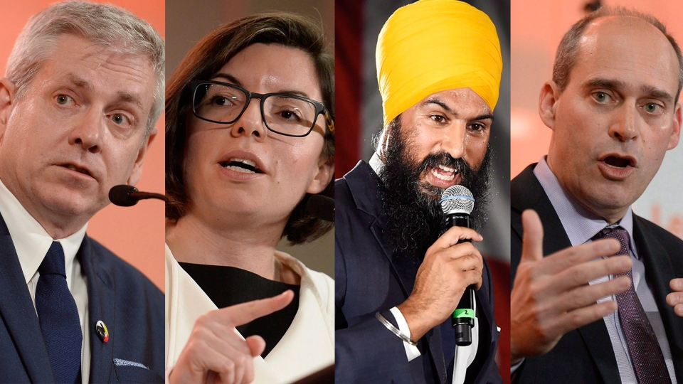 Federal NDP leadership candidates Charlie Angus, Niki Ashton, Jagmeet Singh and Guy Caron. (CANADIAN PRESS)