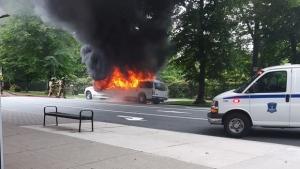 Fire crews extinguish a fully-engulfed limo in Halifax on Saturday, July 8, 2017. (PHOTO: Marcel Tarnogorski)