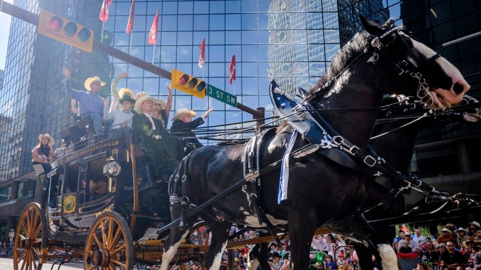 A stage coach passes by during the Calgary Stampede parade in Calgary, Friday, July 7, 2017. (THE CANADIAN PRESS/Jeff McIntosh)