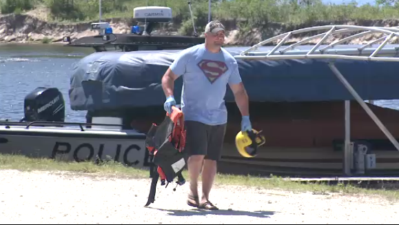 Rescue worker at Wasaga Beach following two drownings on July 8, 2017.
