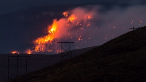 A wildfire burns on a mountain near Ashcroft, B.C., late Friday July 7, 2017.  THE CANADIAN PRESS/Darryl Dyck