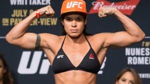 Amanda Nunes poses during the UFC 213 ceremonial weigh-ins, in Las Vegas, on Friday, July 7, 2017. (Erik Verduzco/Las Vegas Review-Journal via AP)