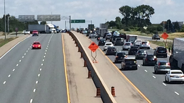Collision on Highway 401 causes traffic backup near Woodstock.