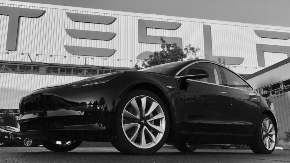 The Tesla Model 3 is shown in this image from Elon Musk. (Elon Musk / Twitter)