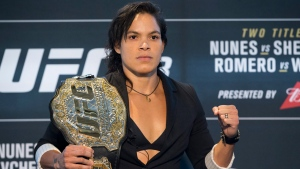 Amanda Nunes poses during media day for Saturday's UFC 213, in Las Vegas on Thursday, July 6, 2017. (Erik Verduzco/Las Vegas Review-Journal via AP)