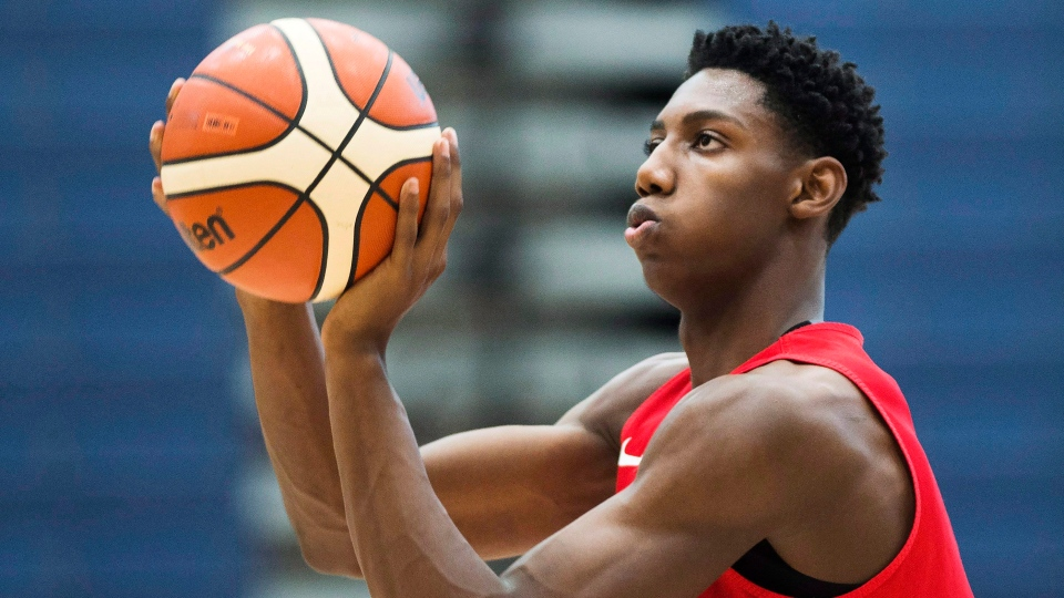 FILE -- R.J. Barrett, 17, practices his shot with members of the U19 basketball Canada team during practice in Mississauga, Ont., on Tuesday, June 20, 2017. (THE CANADIAN PRESS/Nathan Denette)