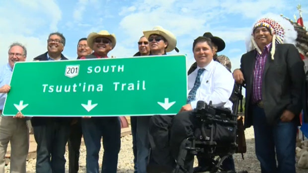Dignitaries at the July 2017 ceremony announcing the southwest leg of the ring road would be named Tsuut'ina Trail (file)