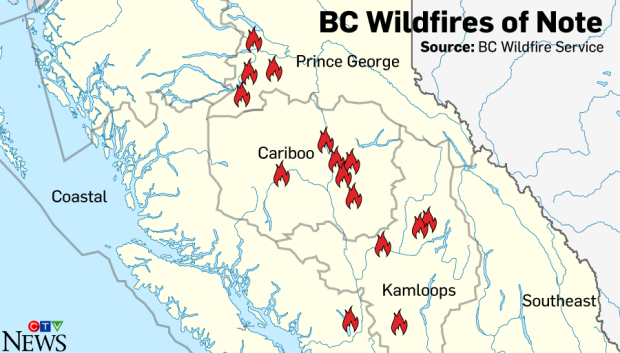 Notable Wildfires In British Columbia CTV News - British columbia map