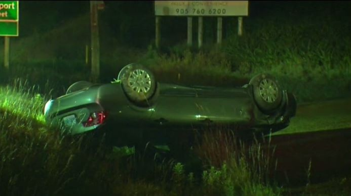 Police are investigating after a vehicle ended up on its roof in a ditch on Victoria Street North.