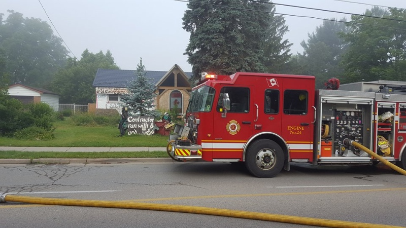 Fire crews on scene at 503 Boler Road following an early morning fire on Tuesday, July 11, 2017. (Justin Zadorsky / CTV London)