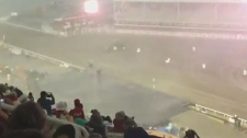 A massive rainstorm halted the chuckwagon races on Monday for the first time in the Calgary Stampede's history.