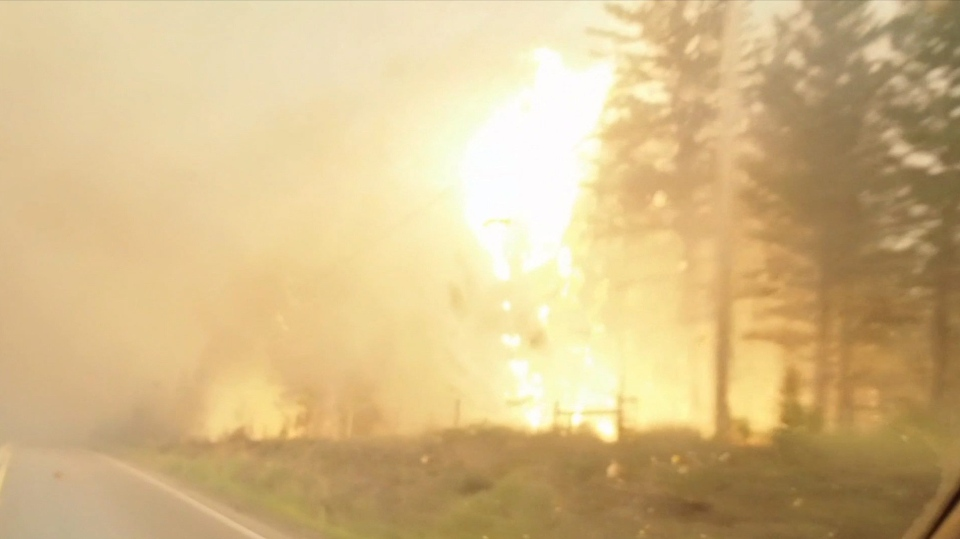 A wildfire burns by the side of the highway in British Columbia's West Chilcotin region in this handout photo taken from video. (THE CANADIAN PRESS - Twitter, Sally Aitken)
