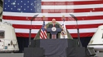 Vice President Mike Pence speaks inside the Vehicle Assembly Building at the Kennedy Space Center in Cape Canaveral, Fla., on Thursday, July 6, 2017. Pence is leading a newly revived National Space Council. (Red Huber/Orlando Sentinel via AP)
