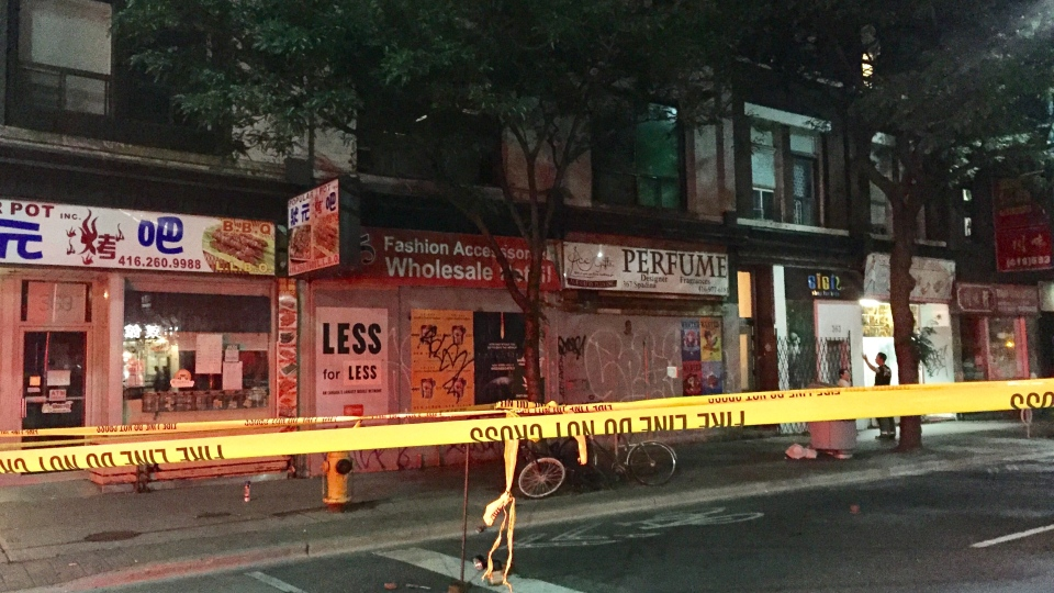 More than a dozen people were displaced Tuesday night after a roof collapsed at a building under renovation in Chinatown. (Mike Nguyen/ CP24)