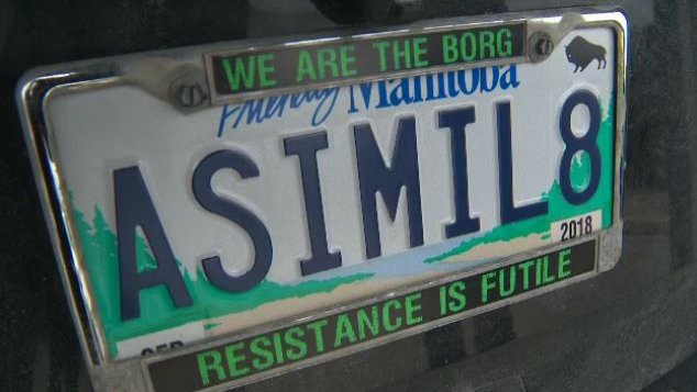 "Nick Troller's licence plate with the text ""ASIMIL8"" was deemed offensive by Manitoba Public Insurance in April."