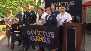 The official Invictus Games flag was handed over to Team Canada co-captains in Bethesda, Md. on July 12, 2017