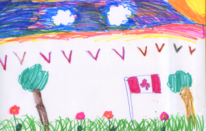 Weather art by Yalda Tabesh, age 8, from Elsie Roy Elementary.