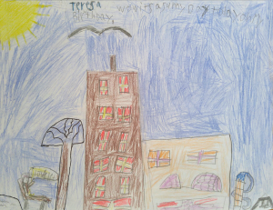 Weather art by Teresa, age 7, from Marlborough School.