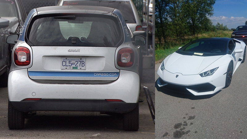 A Smart car is shown in a Vancouver impound lot, and a Lamborghini is pictured on the roadside in Delta. (CTV; Delta Police)