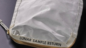 A bag containing dust collected by Neil Armstrong on the moon is seen in this undated image. (Sotheby's)