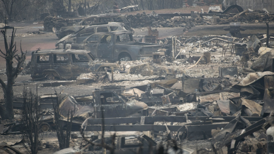 The area of Boston Flats, B.C. is seen after a wildfire ripped through the area earlier in the week, in this photo taken Tuesday, July 11, 2017. (Jonathan Hayward / THE CANADIAN PRESS)