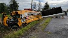 School bus vs. Crane crash on Roger Stevens Road.