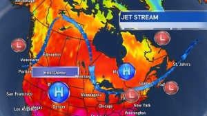Here's a look at the current jet stream position and the stalled high over the US Midwest.