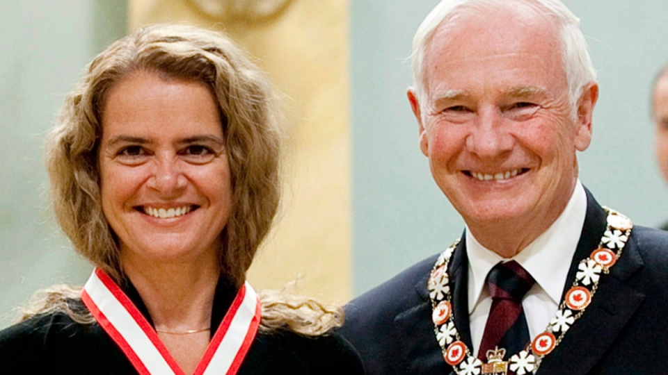 Julie Payette and Governor General David Johnston at Rideau Hall in Ottawa, on Sept. 16 2011. (Fred Chartrand / THE CANADIAN PRESS)
