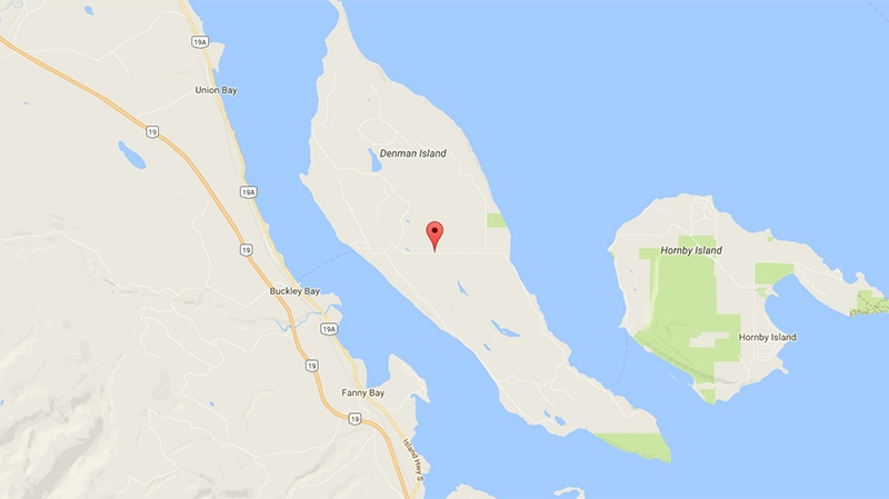 The 5300-block of Denman Road on Denman Island is marked on a map. (Google Maps)