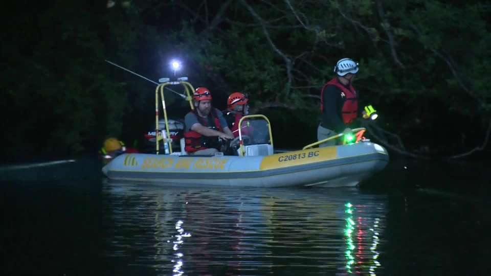 A search is underway for a person who dove off a bridge into the Courtenay River Wednesday night and did not appear to resurface. July 12, 2017. (CTV Vancouver Island)