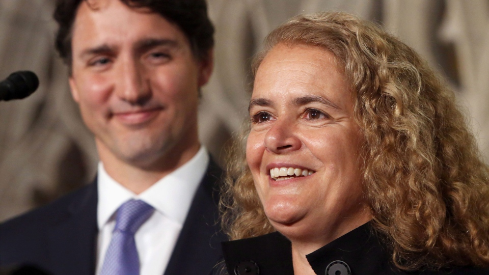 Former astronaut, and Governor General designate, Julie Payette looks on as she is introduced by Prime Minister Justin Trudeau as the next Governor General of Canada, on Parliament Hill, in Ottawa, Thursday July 13, 2017. THE CANADIAN PRESS/Fred Chartrand