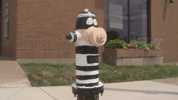 One of the many unique fire hydrants in Stellarton, N.S., shows a masked robber outside a bank.