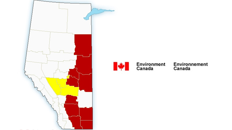 A photo showing warnings and alerts issued for parts of Alberta as of 8:30 p.m. Thursday, July 13, 2017.