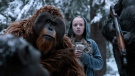 This image released by Twentieth Century Fox shows Karin Konoval, left, and Amiah Miller in 'War for the Planet of the Apes.' (Twentieth Century Fox via AP)