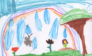 Weather art by Paola, age 6.