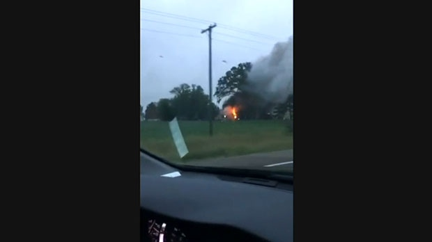 A child is dead after a house fire near Barrie. Video sent in by a viewer shows flames and heavy smoke billowing from the home.