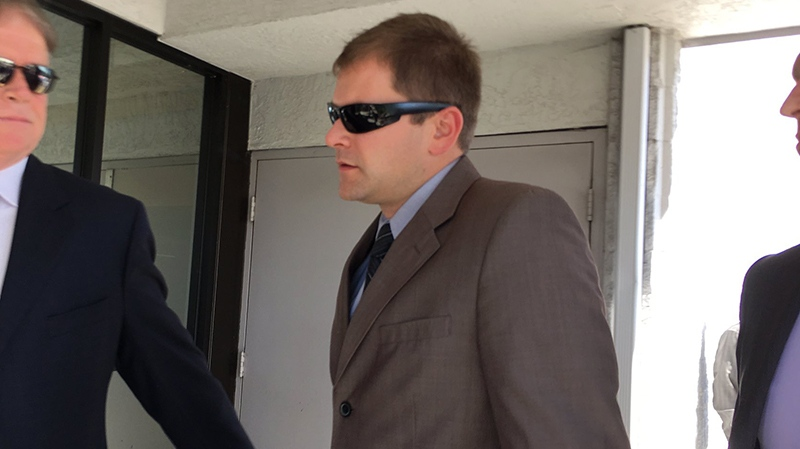 Kenneth Jacob Fenton enters Western Communities Court in Colwood prior to receiving his sentence in the crash that killed Const. Sarah Beckett. July 14, 2017. (CTV Vancouver Island)