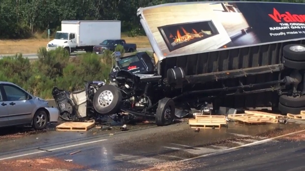 Highway 1 closed in Langley after five-vehicle collision