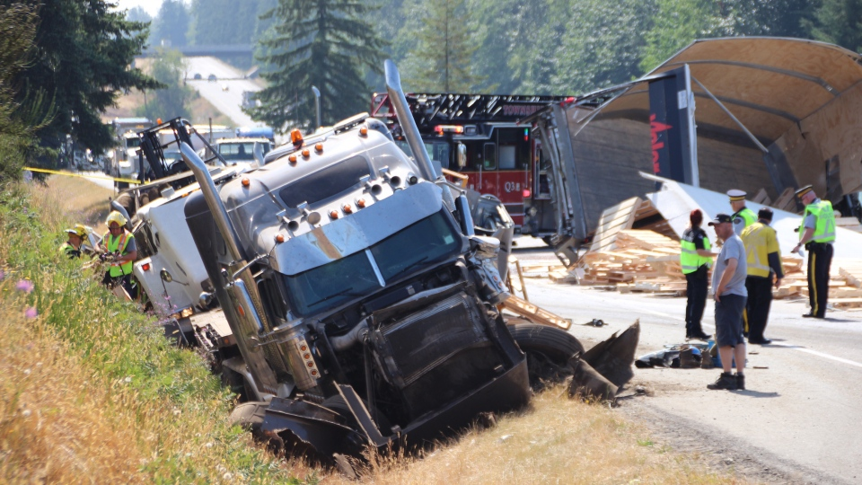 A damaged semi-truck in seen after a collision on Highway 1 in Langley on Friday, July 14, 2017. (CTV)