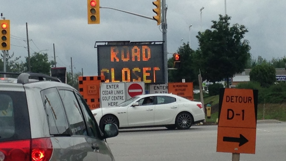 Huonia Road can be seen closed on Friday, July 14, 2017 in Barrie, Ont. (Brandon Gonez/ CTV Barrie)