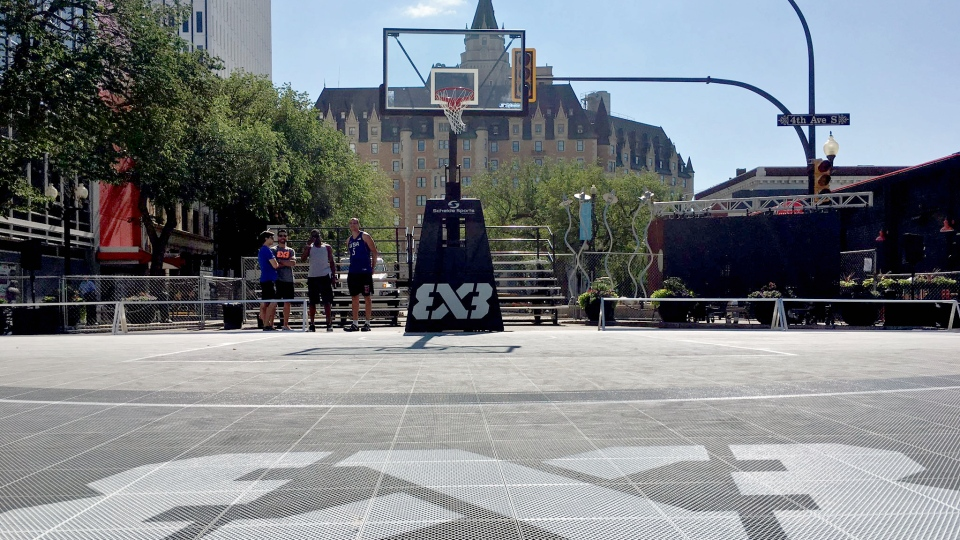 The FIBA 3x3 court sits ready for action in downtown Saskatoon ahead of the tournament set for July 15 to 16, 2017. (Moses Woldu/CTV Saskatoon)