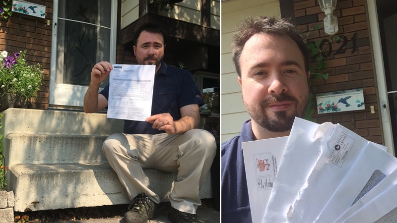 Jarrett Kucy is seen on his front step holding the Canada Post report informing him of the safety concern (L) on Friday, July 14, and later that day holding the mail he received after installing bricks in front of his steps (R).
