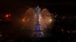 A view of the fireworks display by the Eiffel tower on Bastille Day, in Paris, France, Friday, July 14, 2017. (AP Photo / Matthieu Alexandre)