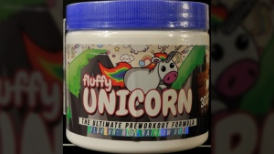 Fluffy Unicorn workout supplement is seen in this Health Canada handout photo. (Health Canada)