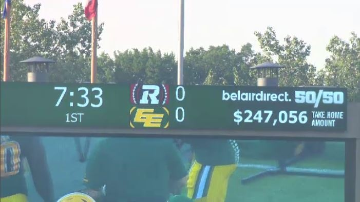 The Eskimos' 50/50 jackpot surpassed $200k during the first quarter of Friday night's action at Commonwealth Stadium.